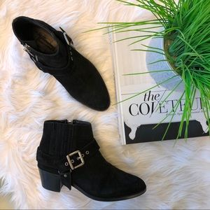 All Saints Black Suede Harness Booties